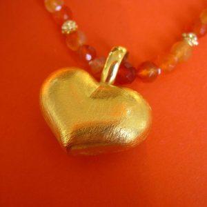 Herz-Anhänger Silber vergoldet für Kette mit großer Öse