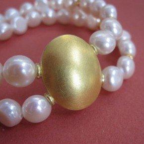 Perlen Armband zweireihig, mit großem runden Ornament