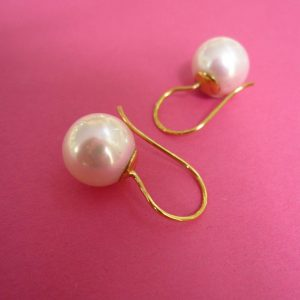 750er Gold Perlenhänger mit weißer Perle