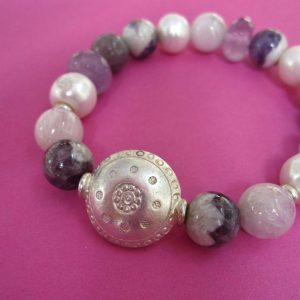Amethyst Armband mit Sterling Silber Linse
