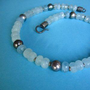 Aquamarin Collier mit Tahitie Perlen