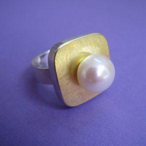 Großer Perlen Ring Silber Gold