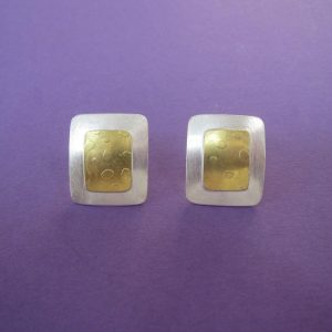 Ohrclips rechteckig, Sterling Silber und Gold
