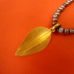 Ketten Anhänger Silber vergoldet Blatt-Form