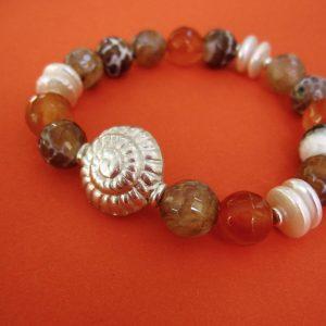 Achat und Karneol Armband in orange und braun und Sterling-Silber Schnecke