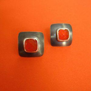 Karneol Stecker Silber schwarz oxidiert