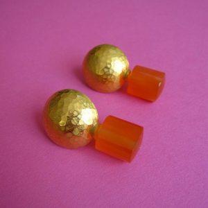Ohrstecker Karneol und Silber vergoldet