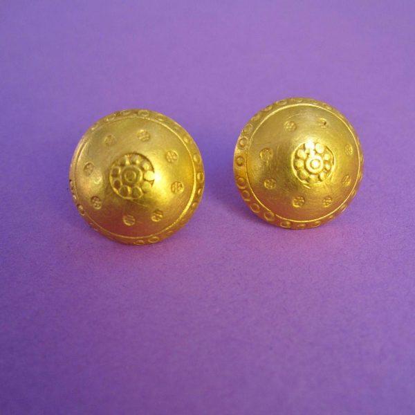 vergoldete runde halbkugel Knopf Ohr Stecker
