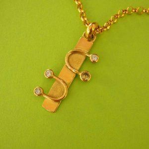 Vier Diamanten Gold-Anhänger
