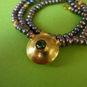 Collier Perle 750er Gold Turmalin
