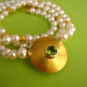 Collier Perlen Gold Silber Peridot