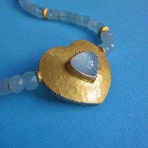 Aquamarin Collier mit Goldm iund Silber Herz und Aquamarin