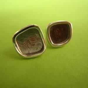 Carre Ohrstecker 10mm Palladium, Silber Rand