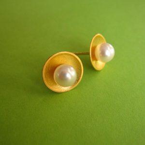Ohrstecker vergoldet 12 mm Perle