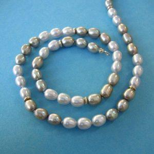 blau graue Perlen Kette