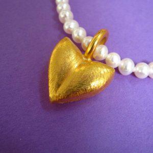 vergoldetes kleines Herz Ketten Anhänger