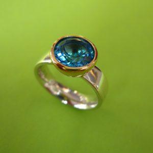 Blauer Topas Ring Silber, 750 Gold