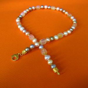 Karneol Kette mit rosa Perlen