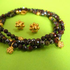 Obsidian, Tigerauge, Hämatit Armkette