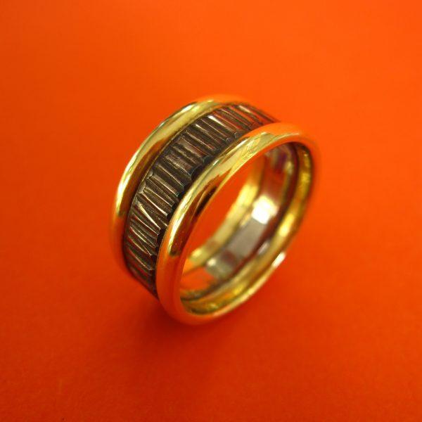 Breiter Palladium Gold Ring