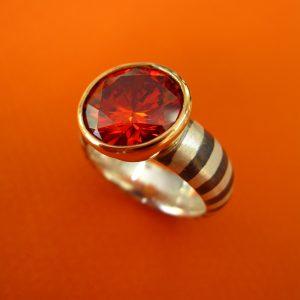 Roter Zauberring Palladium Silber