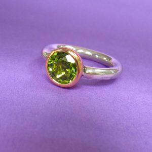 Silber Gold Ring grünem Peridot