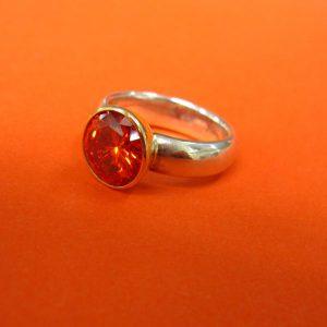 Silber, Gold Ring mit orangen Synthetischem Stein