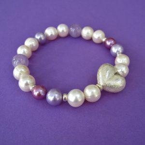 Perlenarmband, Amethyst, Silber Herz Verschluss