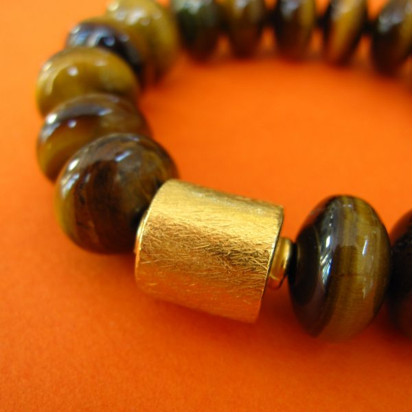 Tigerauge Armband mit vergoldete. Walze