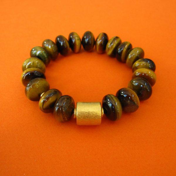 Tigerauge Armband vergoldete Walze