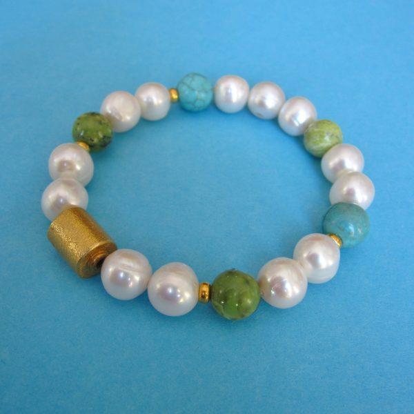 Frühlings Perlen Armband mit Türkis und Serpentin