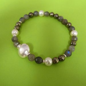 Labradorit Armband, Perlen Silber