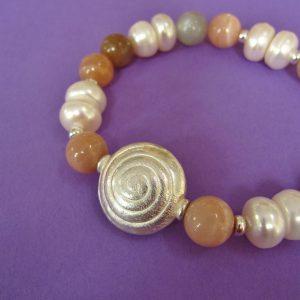 Mondstein Armband, Perlen, Silber Schnecke