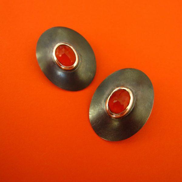 Ovale Clips mit Karneol Oxidiertes Silber