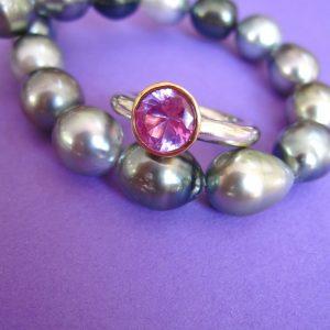 Pink Zirkonia Silber Ring 750 Gold Schale Größe: 53