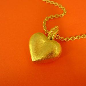 Trachtiger Herzanhänger Silber vergoldet