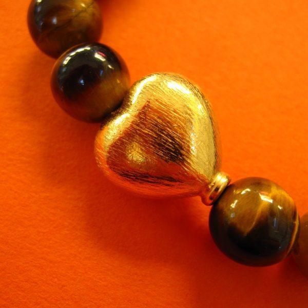 Tigerauge Armband Detail-Herz