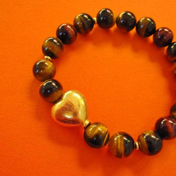 Tigerauge Armband mit vergoldetem Herz