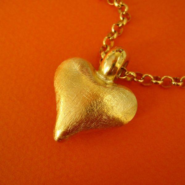 Herzanhänger Silber, vergoldet