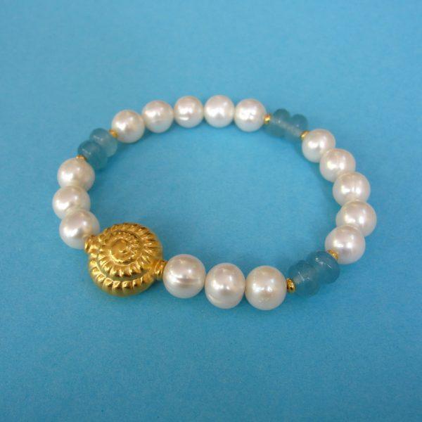 Perlen Armband mit Aquamarin