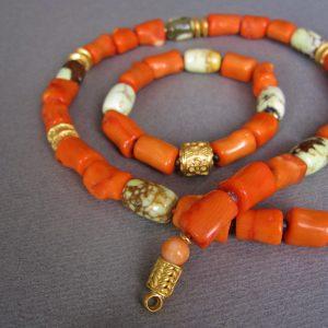 Bambus Korallen Collier und Bambus Korallen Armband mit matrix-gemustertem Zitronen Chrysopras