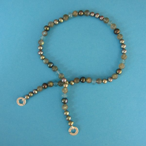 Labradorit, Perlen und Silber Kette - Atlantik grau - 2