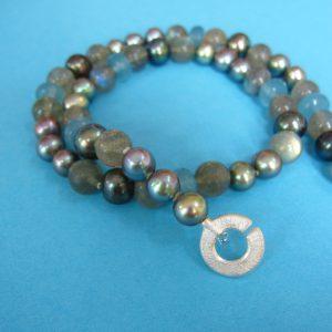 Labradorit, Perlen und Silber Kette - Atlantik grau