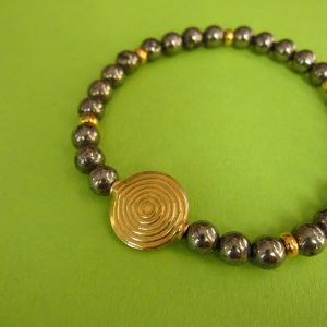 Pyrit Armband mit vergoldeter Spirale als Ornament