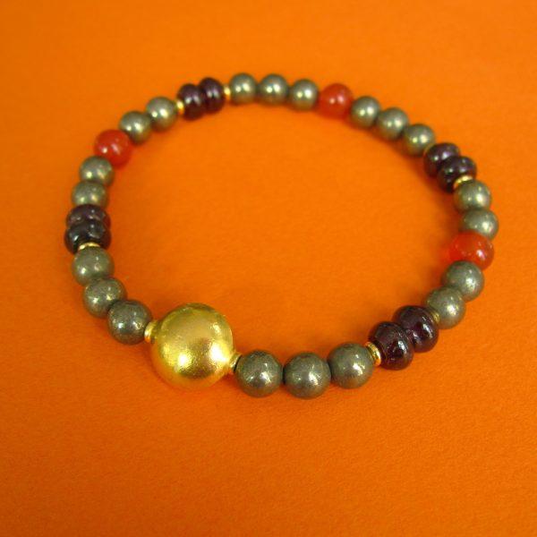 Pyrit Kaneol Granat Armband mit vergoldeter Linse