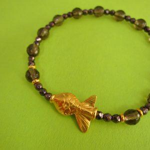 Rauchquarz Armband mit vergoldetem Fisch
