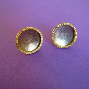 Runde Palladium und 750 Gold Ohrstecker