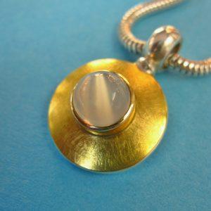 Runder Mondstein Anhänger 900 Gold und 925 Sterling Silber