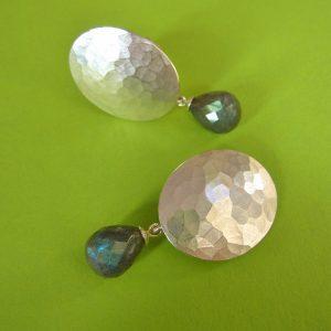 Sterling Silber ovale Ohrclips mit Labradorit