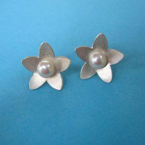 Blütenstern 925 Sterling Silber Ohrstecker mit Perle